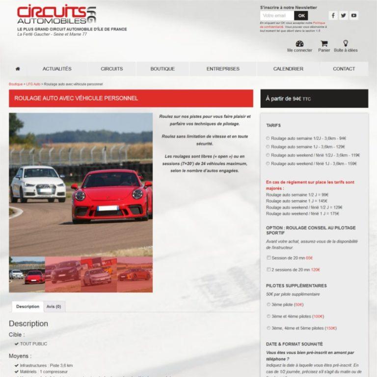 Réalisation site internet e-commerce responsive - Page produit - Vue desktop