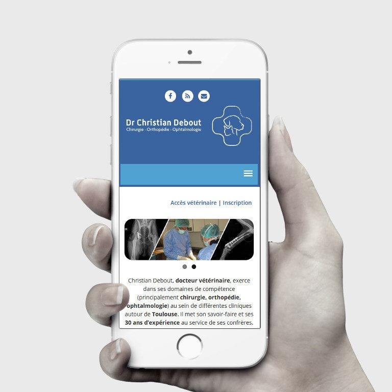Réalisation site web chirurgien vétérinaire - Plaisance-du-Touch | Vue iPhone | Matthieu Pain Créations Multimédia | Toulouse