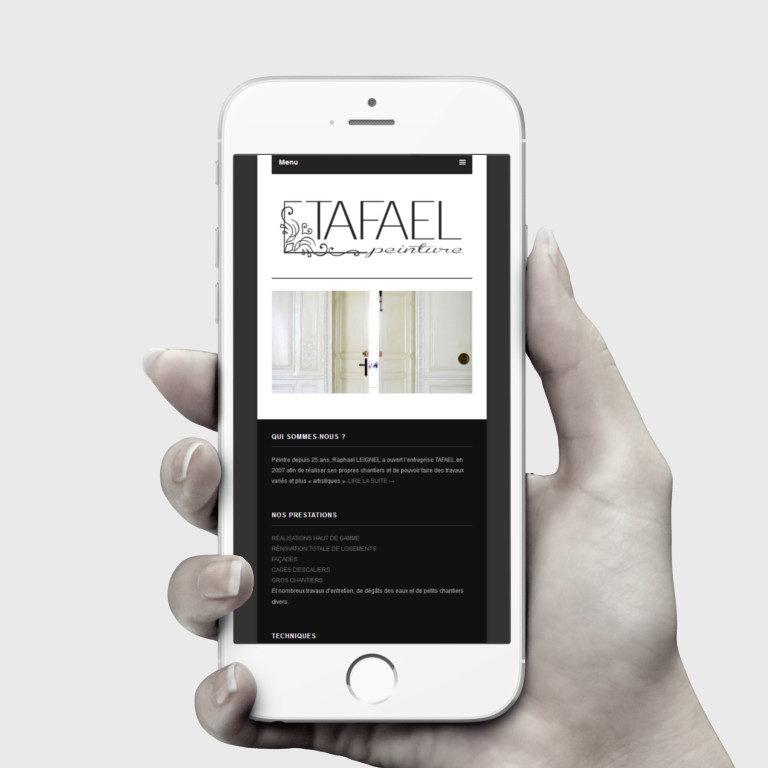 Réalisation site web Tafael - Travaux de peinture haut de gamme - Paris | Vue iPhone | Matthieu Pain Créations Multimédia | Toulouse